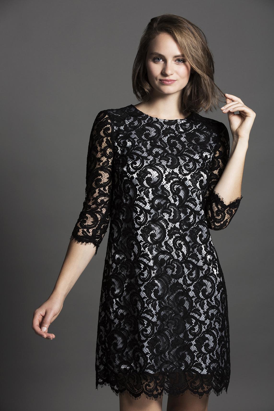f85b8e1637e Robe dentelle noire guipure - Collection Milan